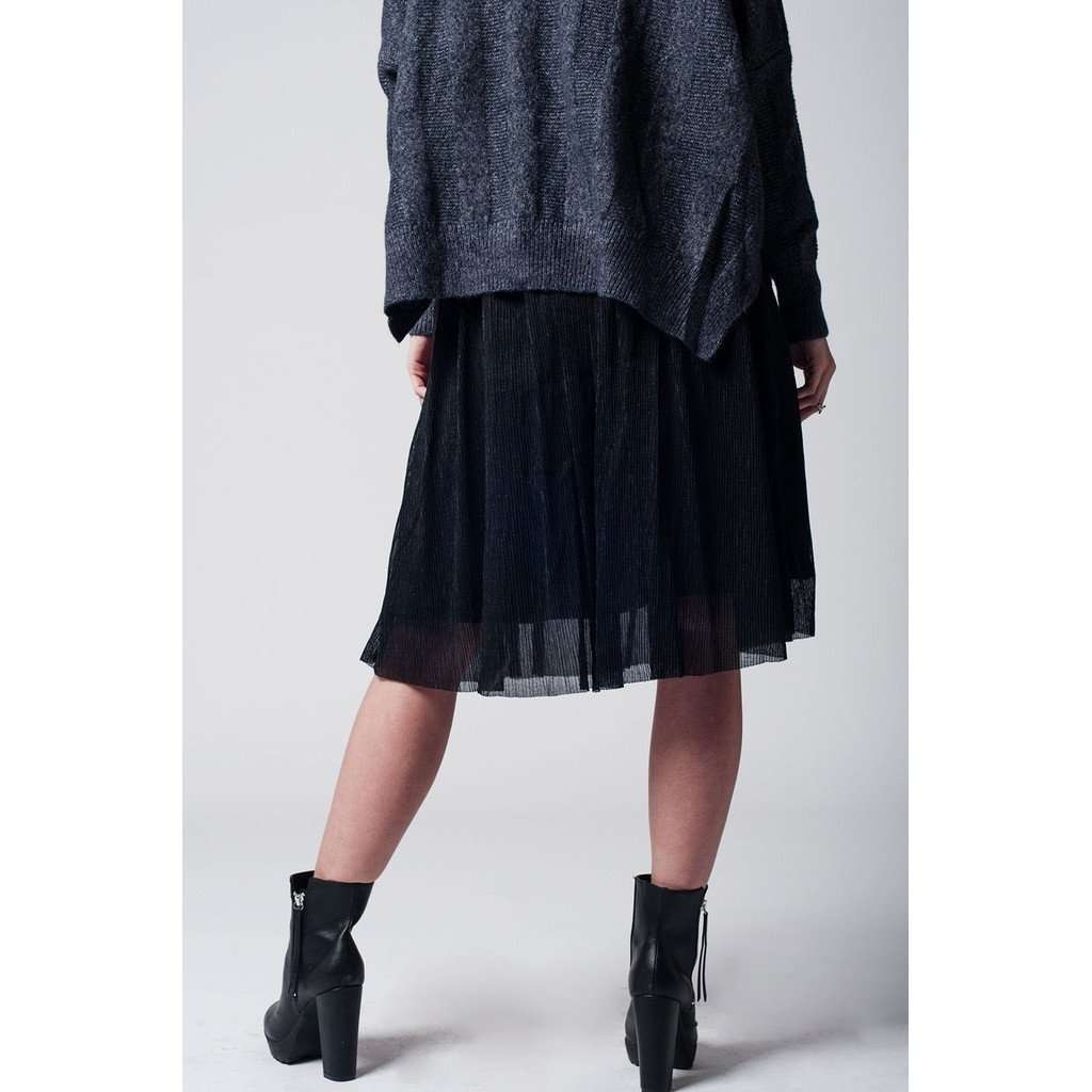 Black metallic pleated midi skirt CoolHatcher at TheArtOfLiving.Earth