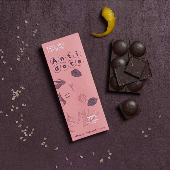 Antidote Chocolate - Hebe: Rose Salt + Lemon 77% with slow roasted cacao CoolHatcher at TheArtOfLiving.Earth