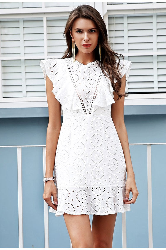 Embroidery Ruffle High Waist Keyhole back dress CoolHatcher at TheArtOfLiving.Earth