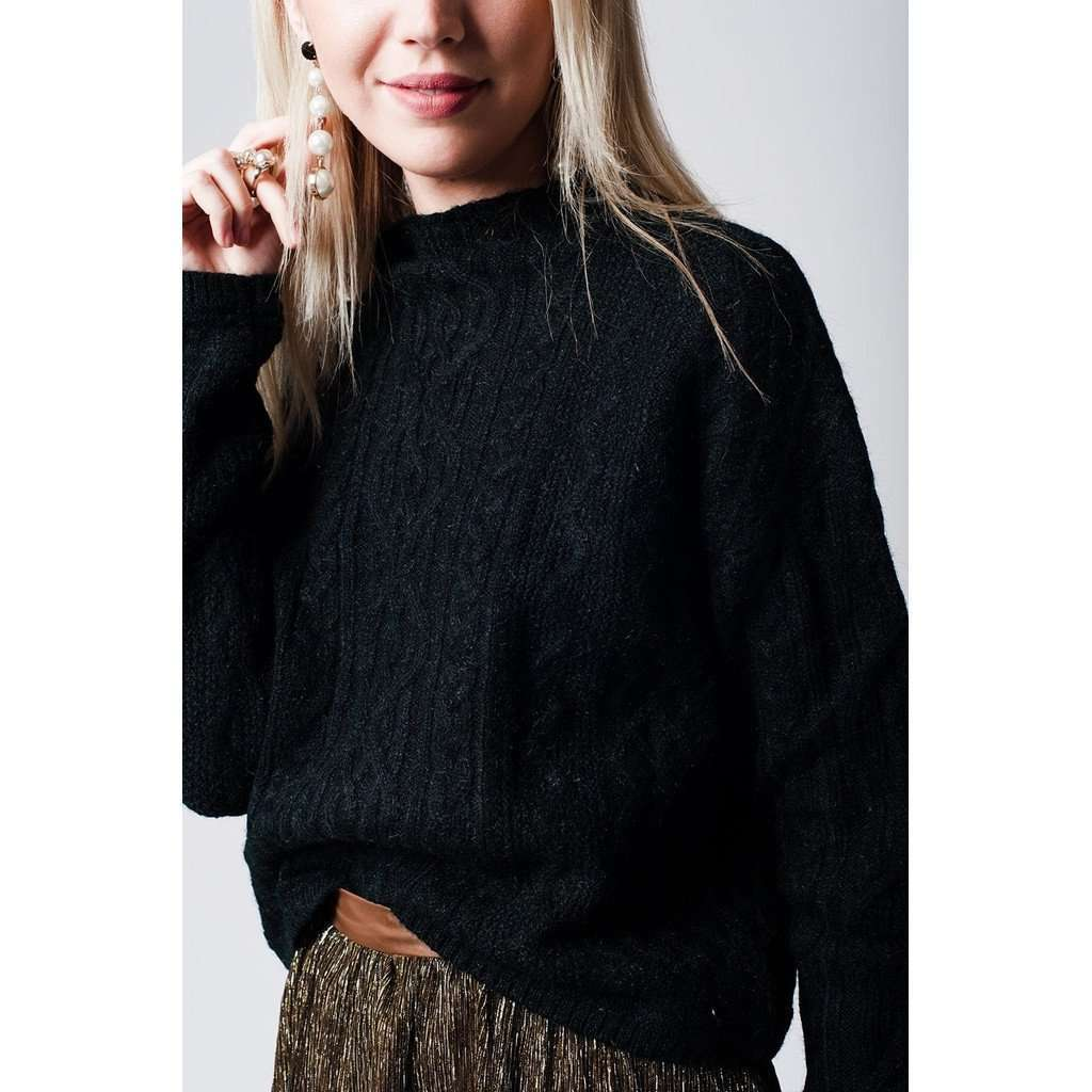 black cable knit sweater with ribbed collar CoolHatcher at TheArtOfLiving.Earth