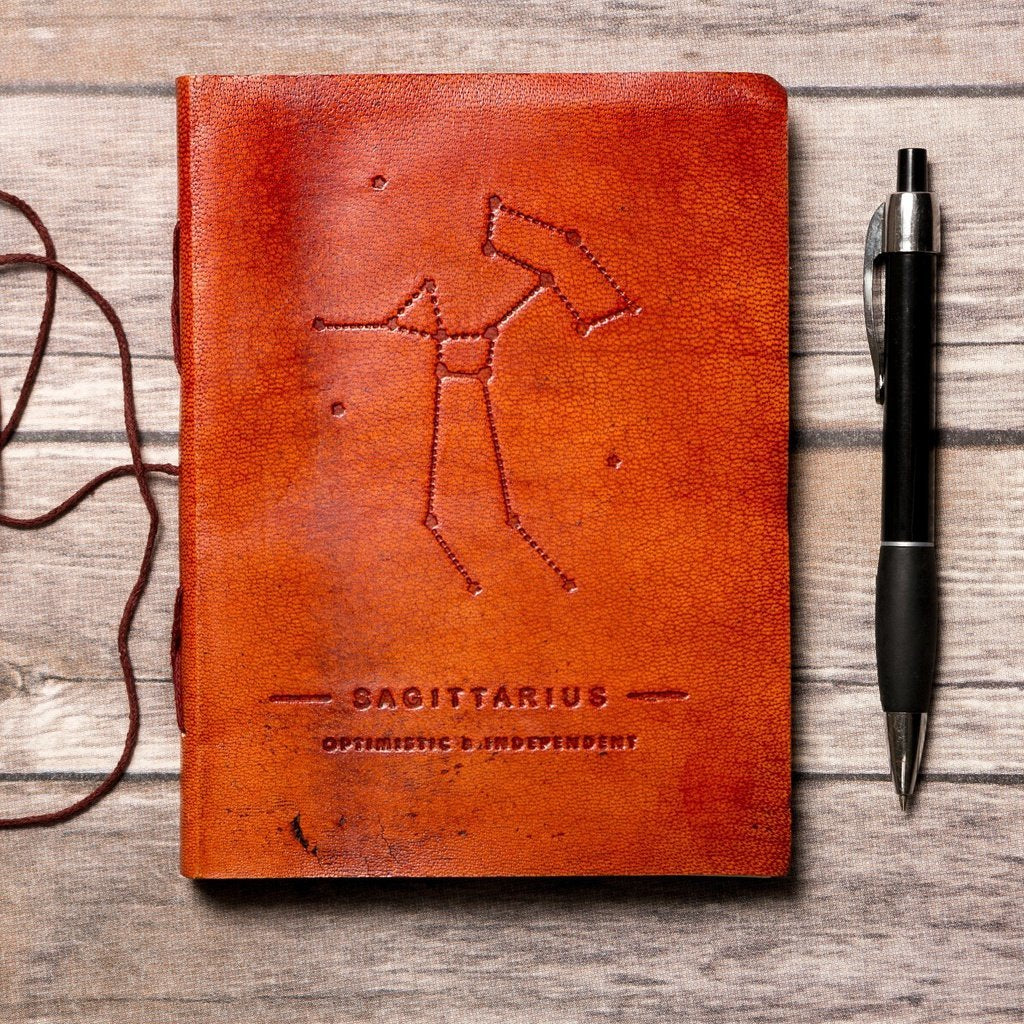 Sagittarius Zodiac Handmade Leather Journal CoolHatcher at TheArtOfLiving.Earth