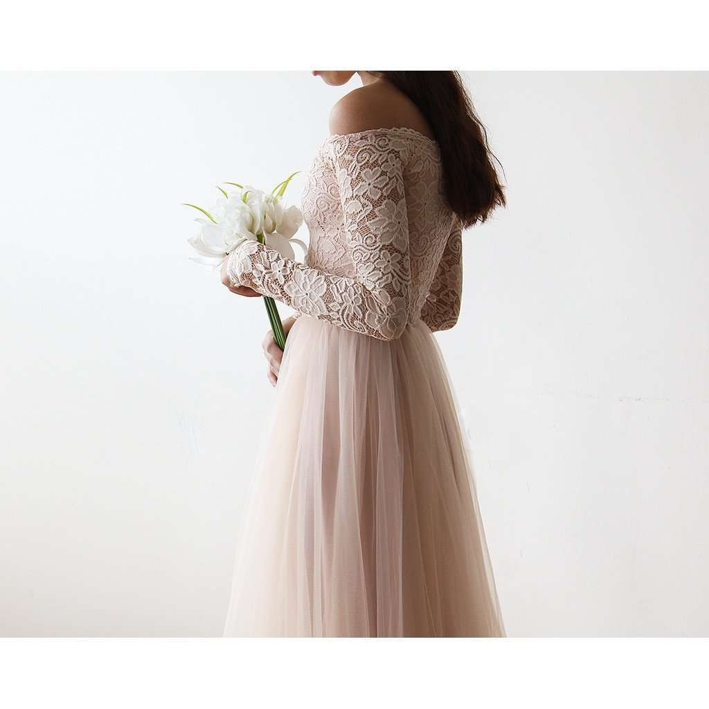 Blush Off-The-Shoulder Lace and Tulle gown CoolHatcher at TheArtOfLiving.Earth