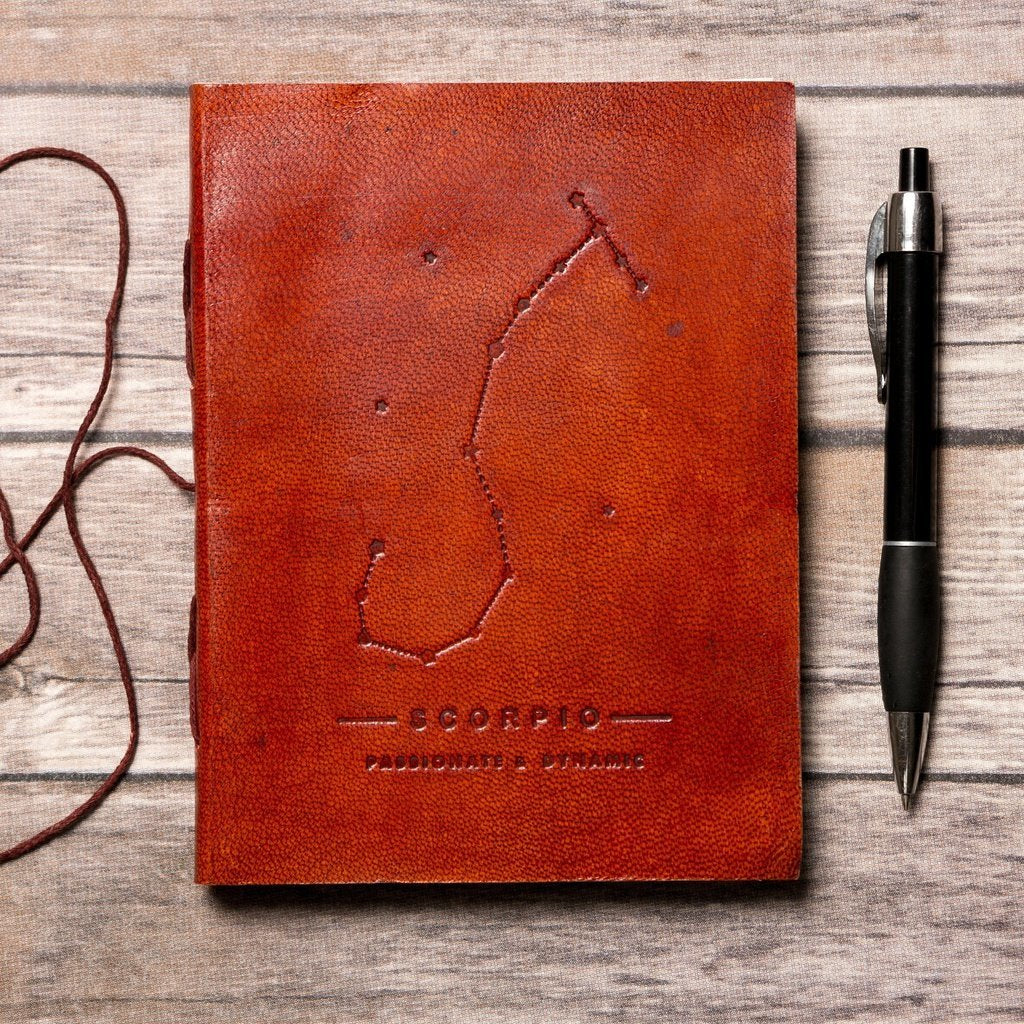 Scorpio Zodiac Handmade Leather Journal CoolHatcher at TheArtOfLiving.Earth