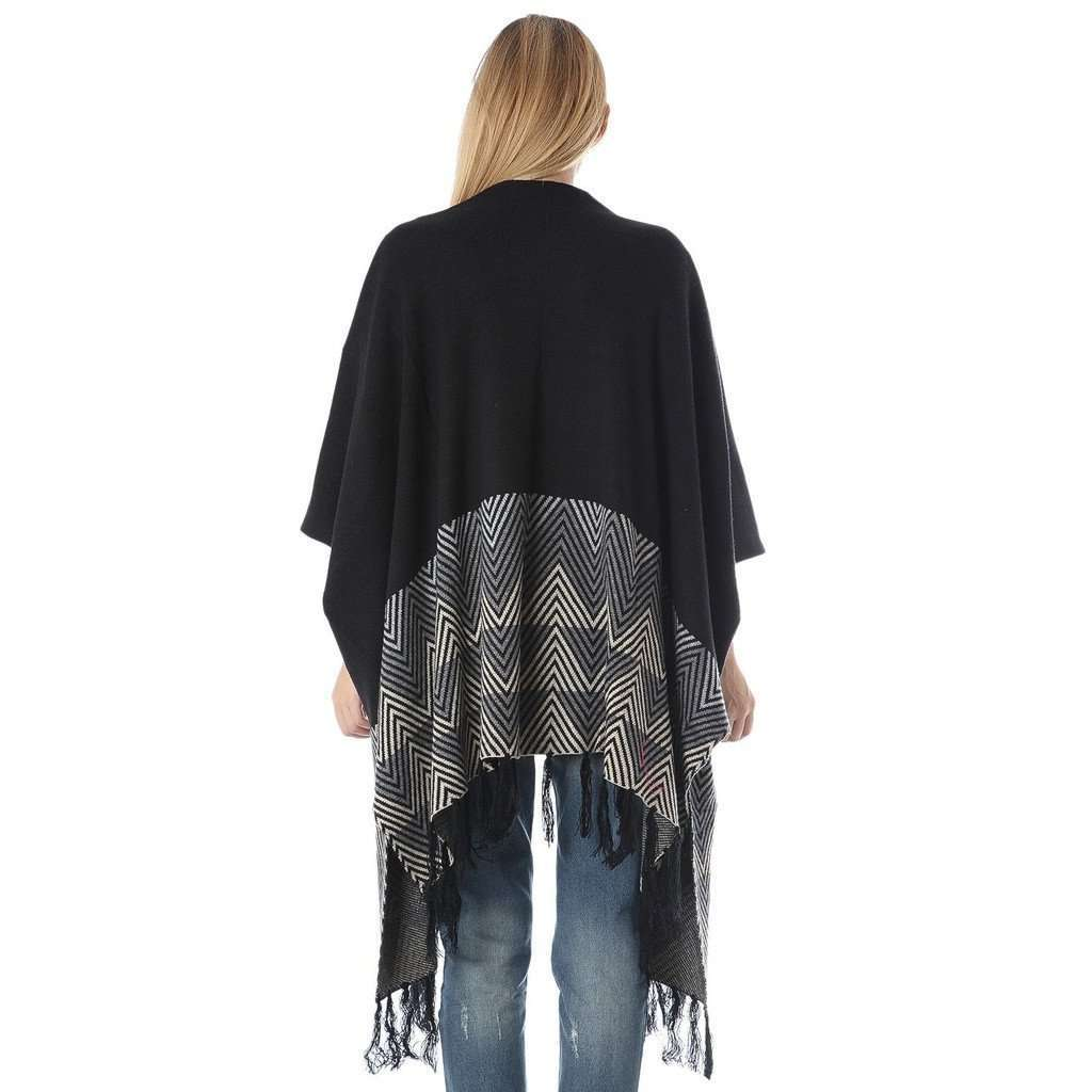 Black cape with tribal print hem detail CoolHatcher at TheArtOfLiving.Earth