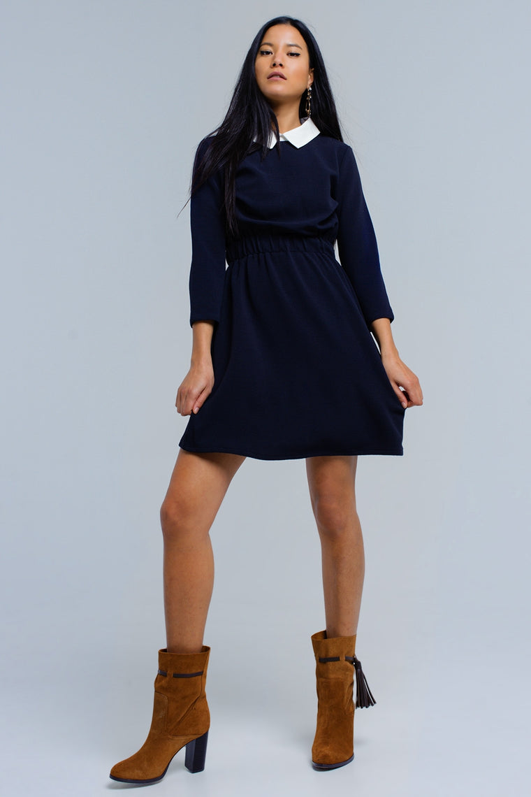 Navy dress with elastic waist CoolHatcher at TheArtOfLiving.Earth