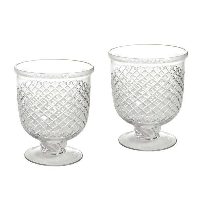 Pair Of Small Antique Diamond Cut Etched Hurricanes CoolHatcher at TheArtOfLiving.Earth