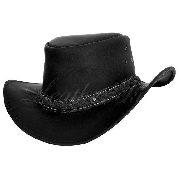 Men Handmade Black Leather Hat CoolHatcher at TheArtOfLiving.Earth
