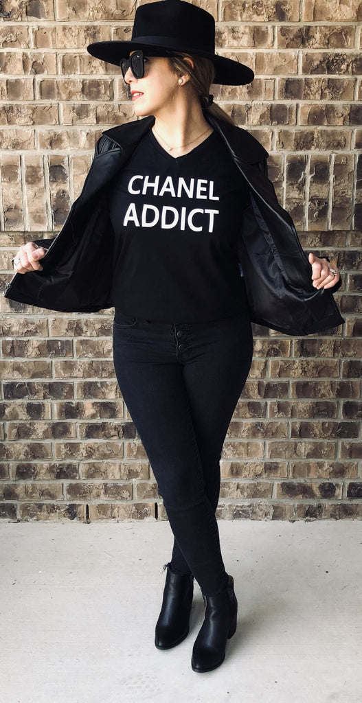 EXCLUSIVE EDITION Chanel Addict T Shirt Black CoolHatcher at TheArtOfLiving.Earth