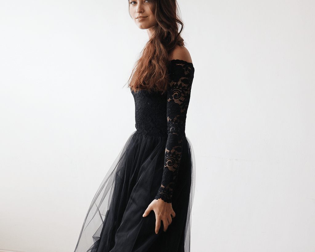 Black Off-The-Shoulder Lace and Tulle Maxi Dress  1134 CoolHatcher at TheArtOfLiving.Earth