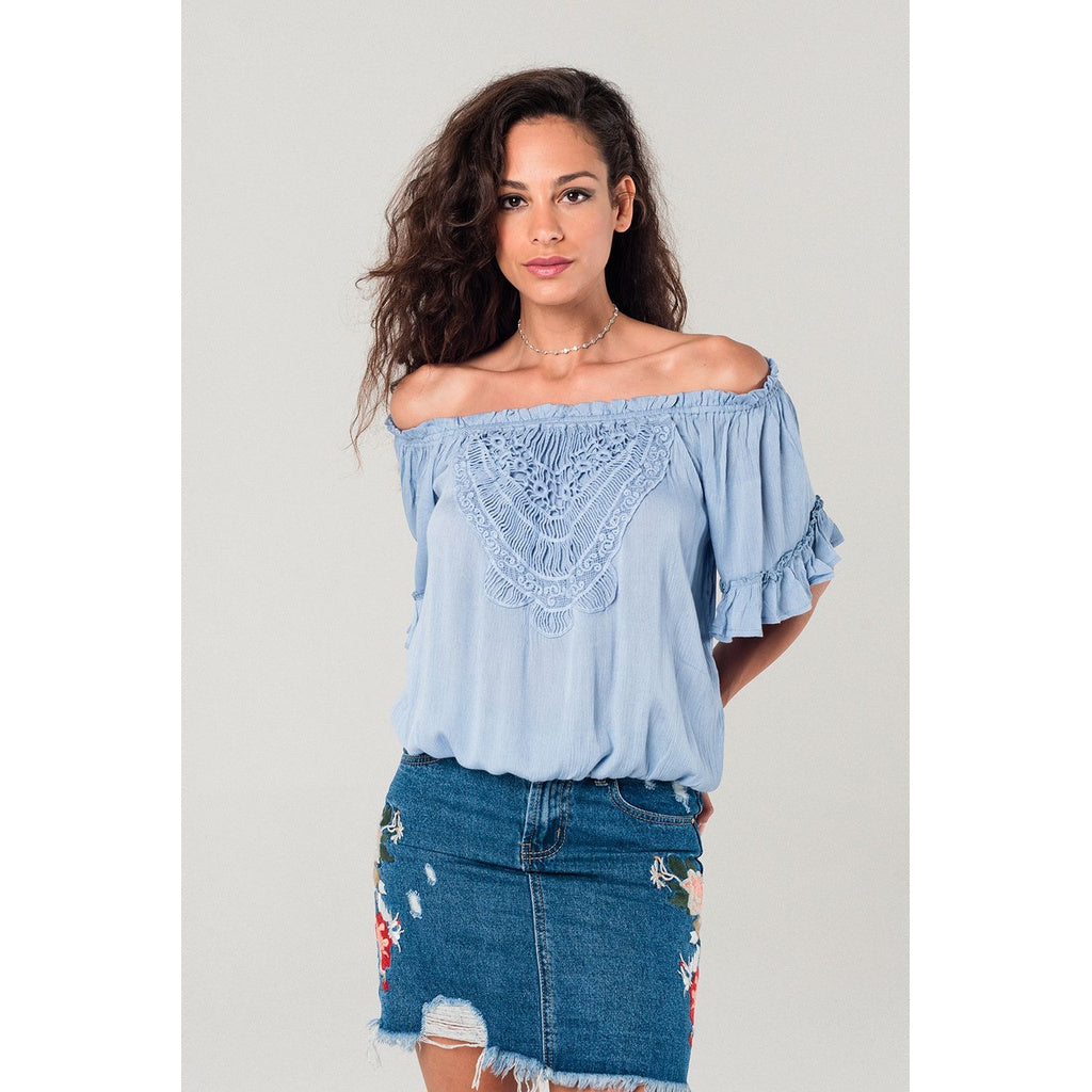 Blue lightweight ruffle top CoolHatcher at TheArtOfLiving.Earth
