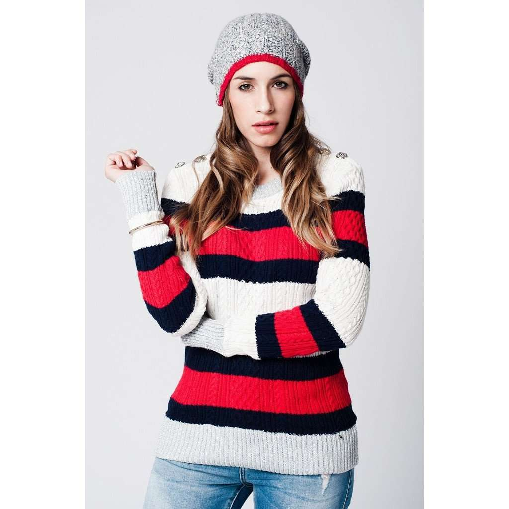 white striped sweater with Buttoned shoulder detail CoolHatcher at TheArtOfLiving.Earth