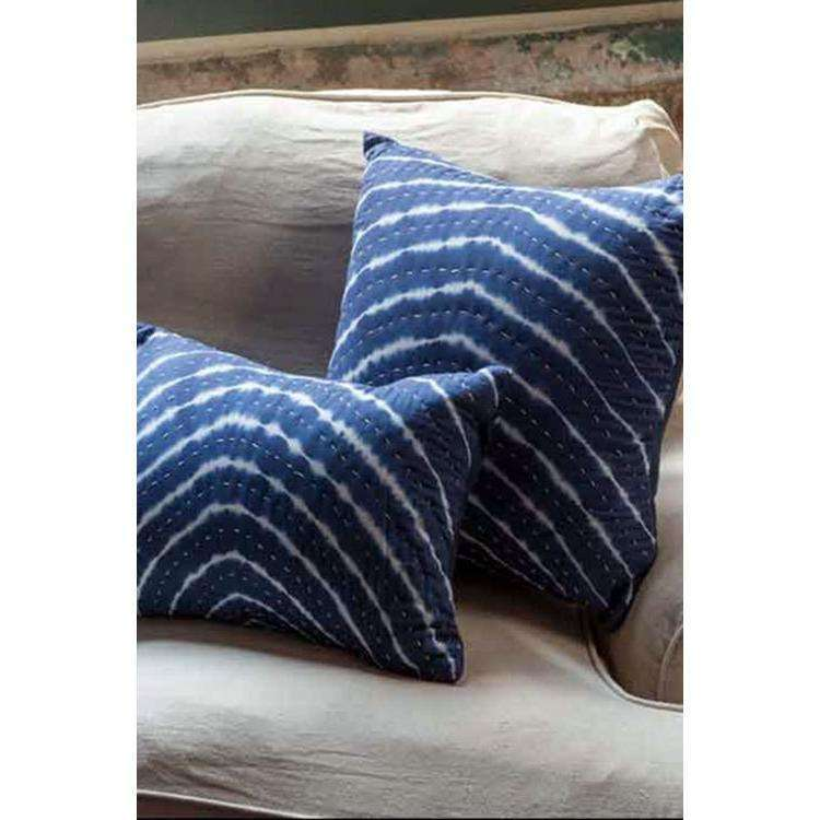 Tie Dyed Indigo Pillows with Kantha Stitch CoolHatcher at TheArtOfLiving.Earth