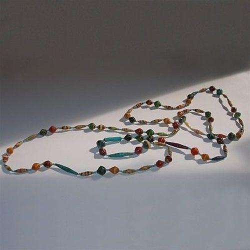 Long Glossy Recycled Paper Necklace - Afrika Pamoja CoolHatcher at TheArtOfLiving.Earth