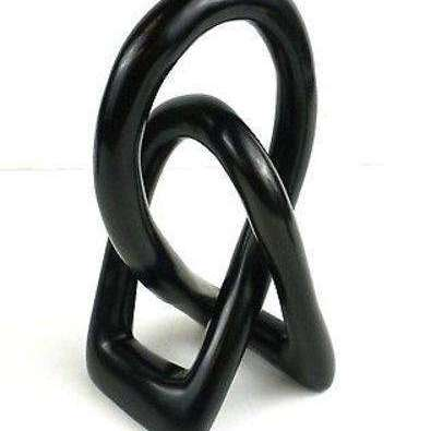 Natural Soapstone 6-inch Lover's Knot in Black - Smolart CoolHatcher at TheArtOfLiving.Earth