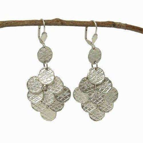 Stamped Disk Chandelier Earrings in Silvertone - WorldFinds CoolHatcher at TheArtOfLiving.Earth