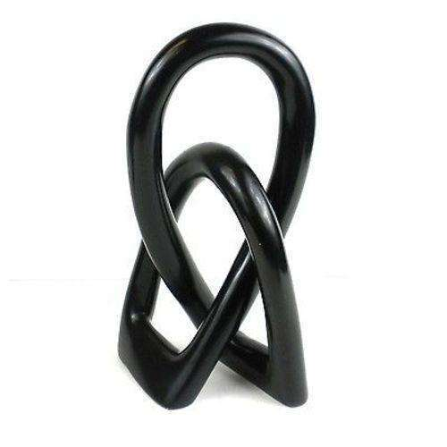Natural Soapstone 8-inch Lover's Knot in Black - Smolart CoolHatcher at TheArtOfLiving.Earth