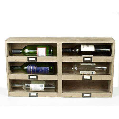Wine Box with 6 Cubbys and Metal Tag Holder CoolHatcher at TheArtOfLiving.Earth
