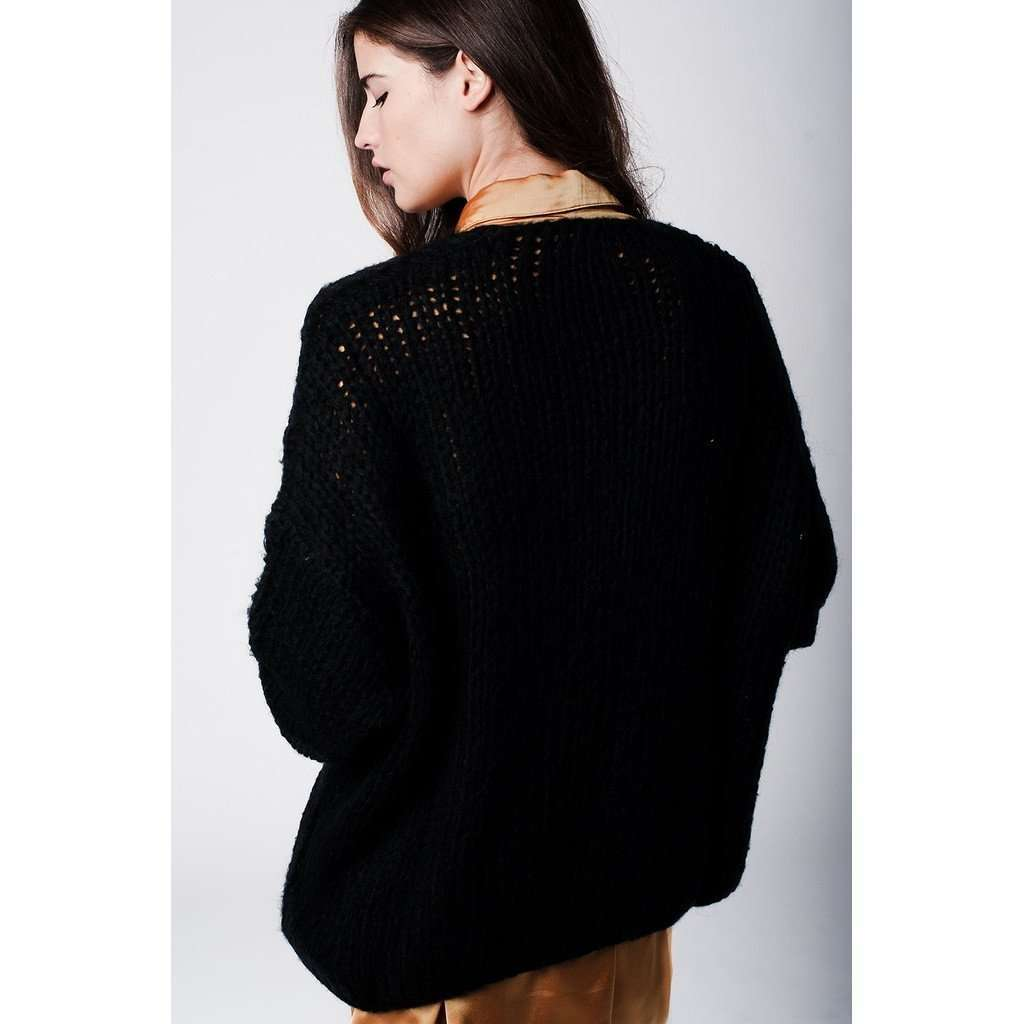 Boyfriend Oversized Black Mohair Cardigan CoolHatcher at TheArtOfLiving.Earth