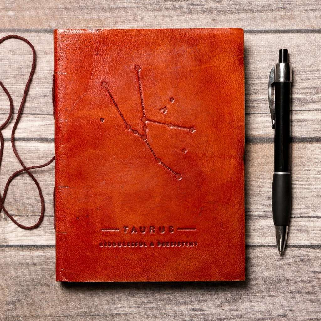 Taurus Zodiac Handmade Leather Journal CoolHatcher at TheArtOfLiving.Earth