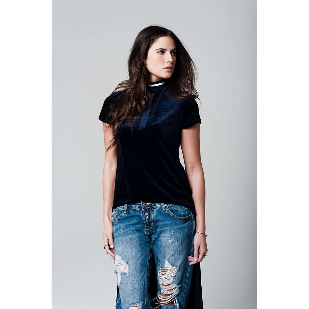 Navy blue asymmetric velvet top with ribbed collar CoolHatcher at TheArtOfLiving.Earth