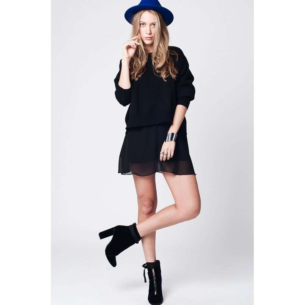 Black soft knit jersey with dropped shoulders CoolHatcher at TheArtOfLiving.Earth