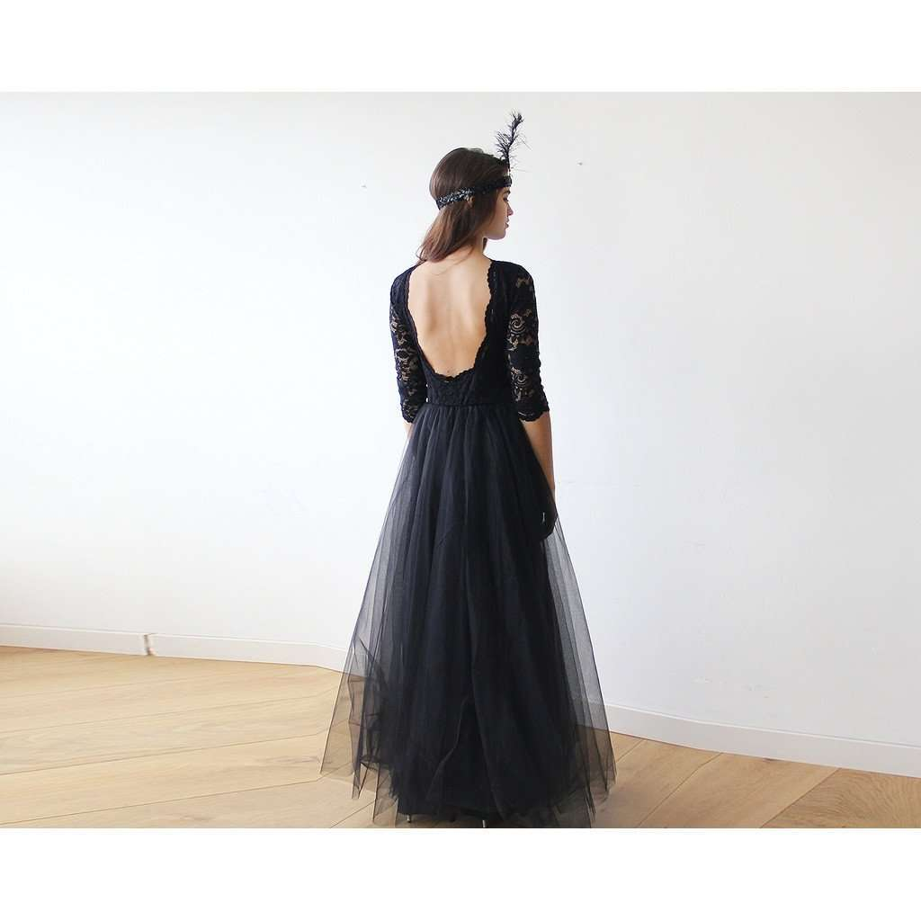 Black Tulle and Lace Maxi Gown CoolHatcher at TheArtOfLiving.Earth