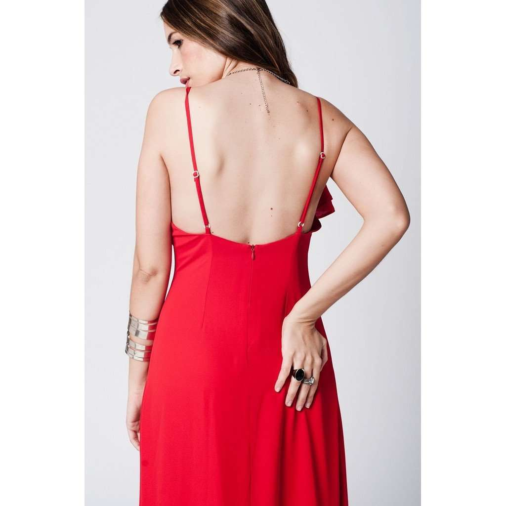 Red ruffle front maxi dress CoolHatcher at TheArtOfLiving.Earth