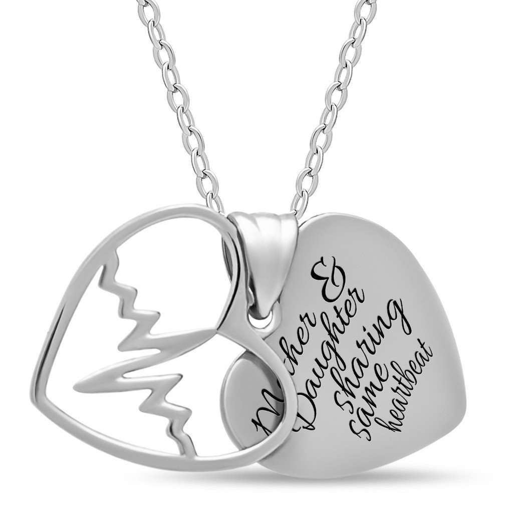 Mother Daughter Heart Necklace, 925 Silver, Silver Plated Two Heart Necklace CoolHatcher at TheArtOfLiving.Earth