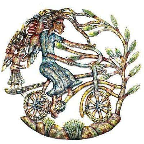 Angels on Bicycle Hand Painted 24-inch Metal Wall Art - Croix des Bouquets CoolHatcher at TheArtOfLiving.Earth