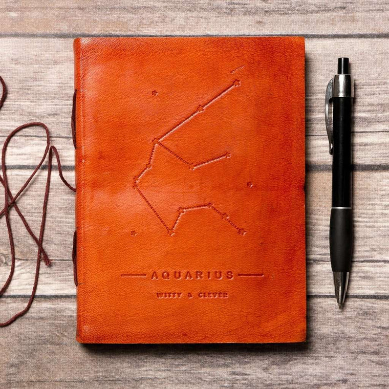 Aquarius Zodiac Handmade Leather Journal CoolHatcher at TheArtOfLiving.Earth