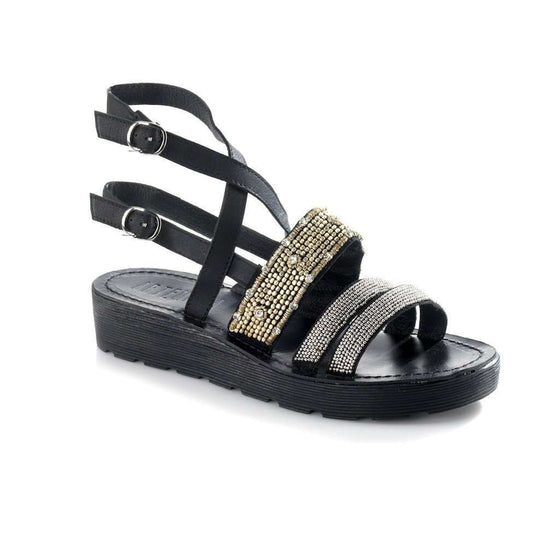 Arianna Black Sandal CoolHatcher at TheArtOfLiving.Earth