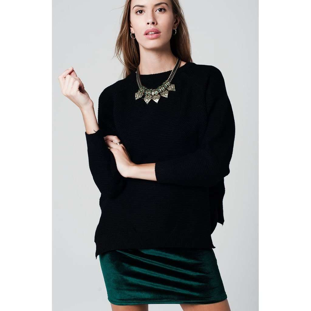 asymmetric  black sweater crossed knit with side slits CoolHatcher at TheArtOfLiving.Earth