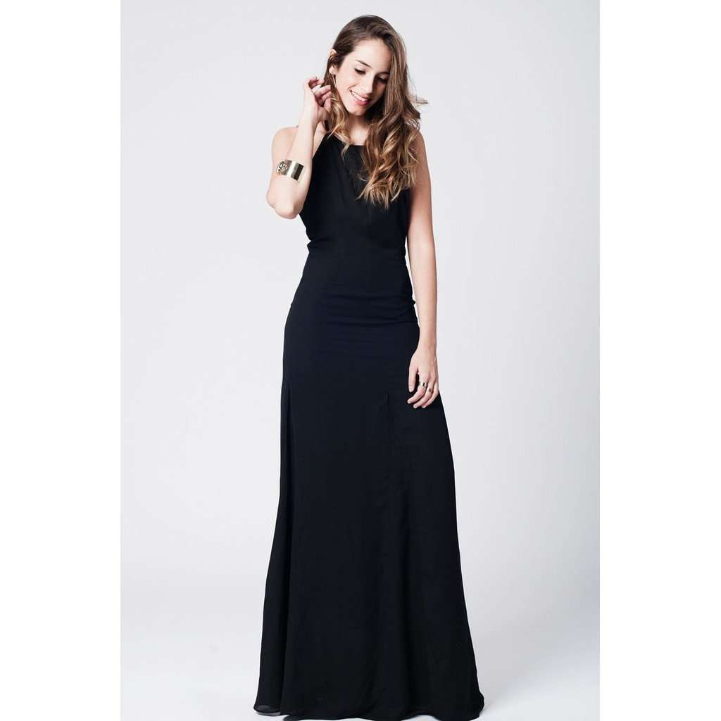 Black maxi dress with open back CoolHatcher at TheArtOfLiving.Earth