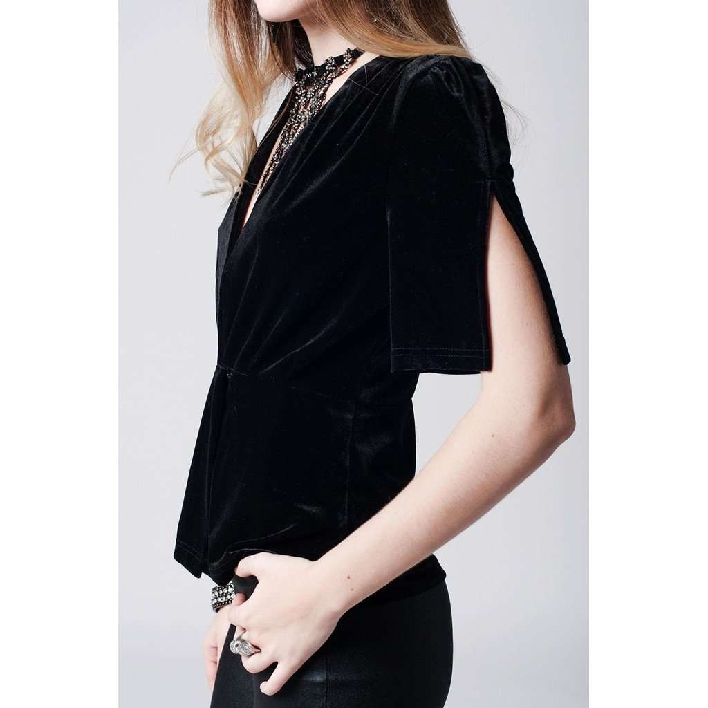 Black deep plunge velvet top CoolHatcher at TheArtOfLiving.Earth