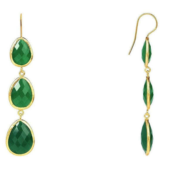 Gold Triple Drop Earring Green Onyx CoolHatcher at TheArtOfLiving.Earth