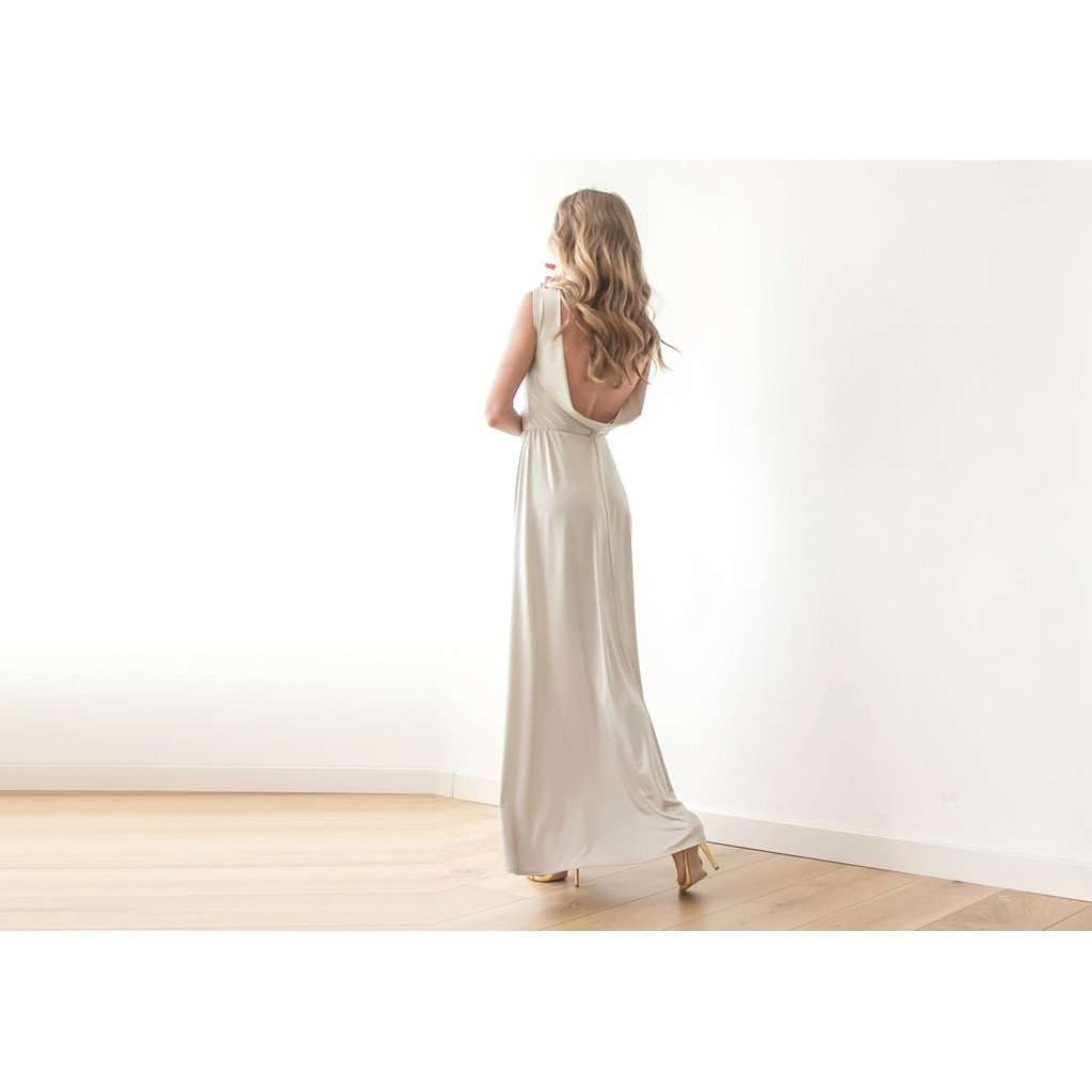 Backless champagne maxi dress CoolHatcher at TheArtOfLiving.Earth