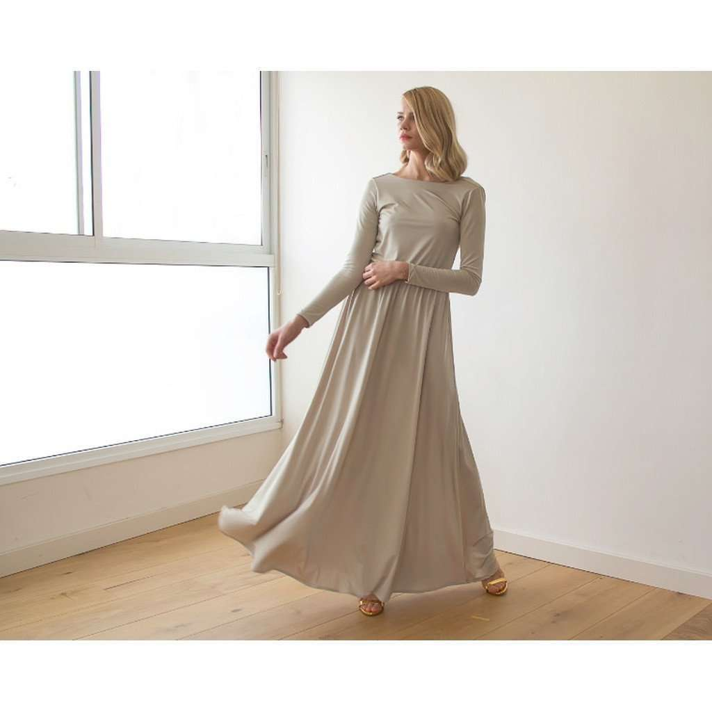 Backless champagne maxi dress with long sleeves CoolHatcher at TheArtOfLiving.Earth