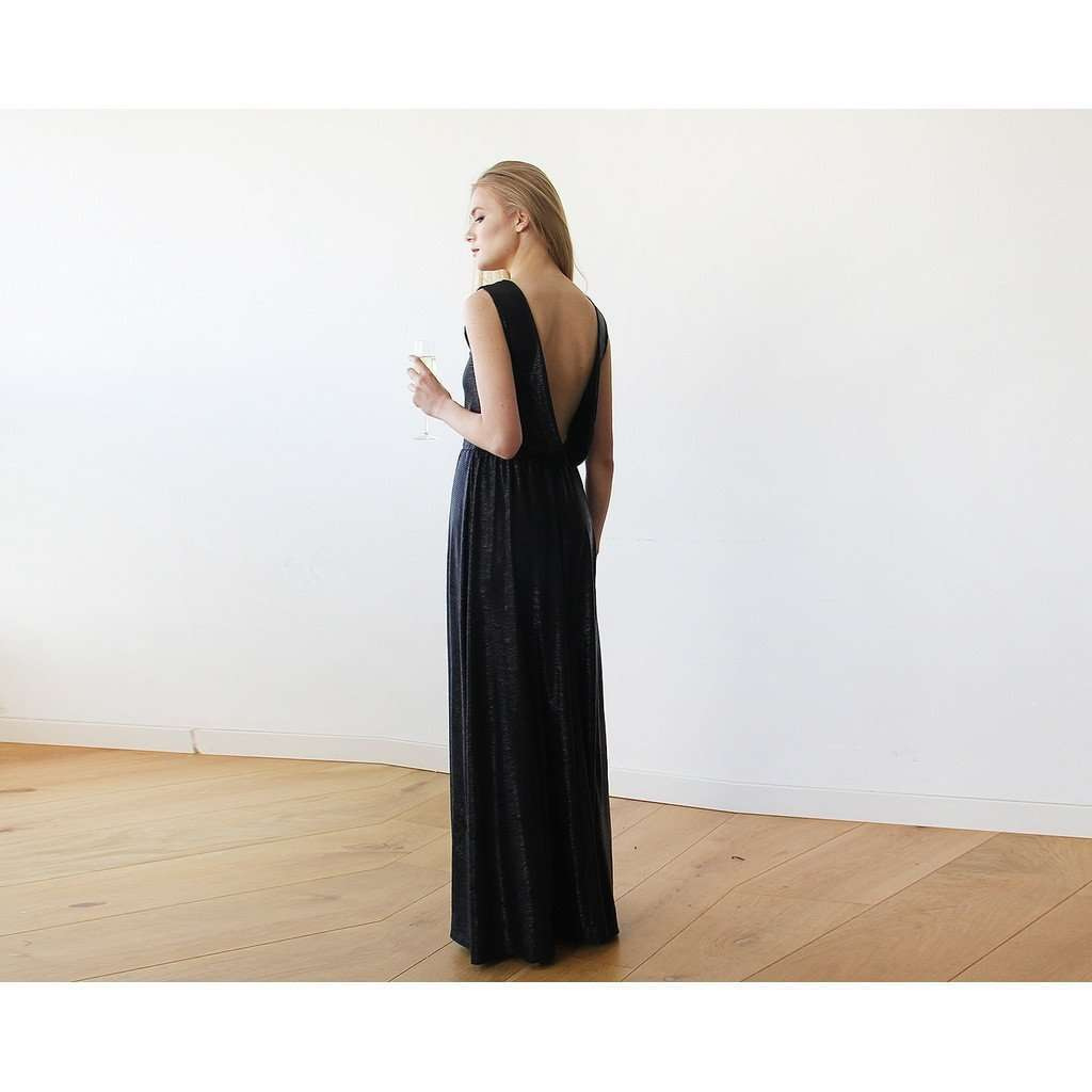 Backless Sleeveless Metallic Black Maxi Dress 1062 CoolHatcher at TheArtOfLiving.Earth
