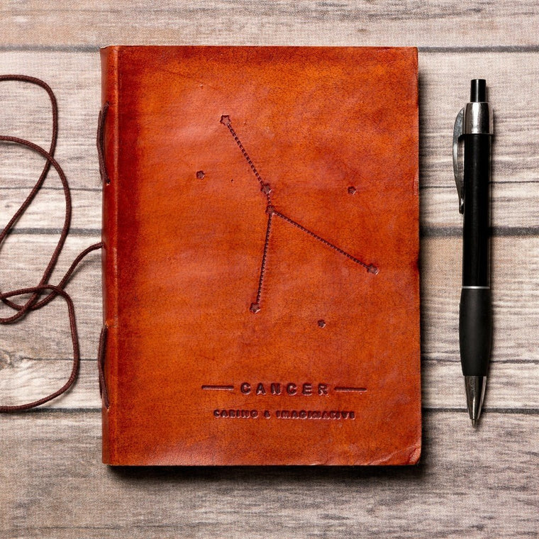 Cancer Zodiac Handmade Leather Journal CoolHatcher at TheArtOfLiving.Earth
