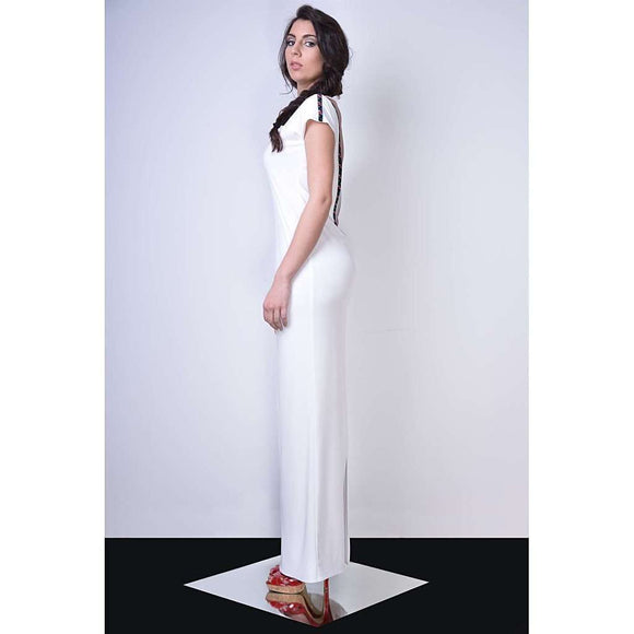 Bareback white maxi dress CoolHatcher at TheArtOfLiving.Earth