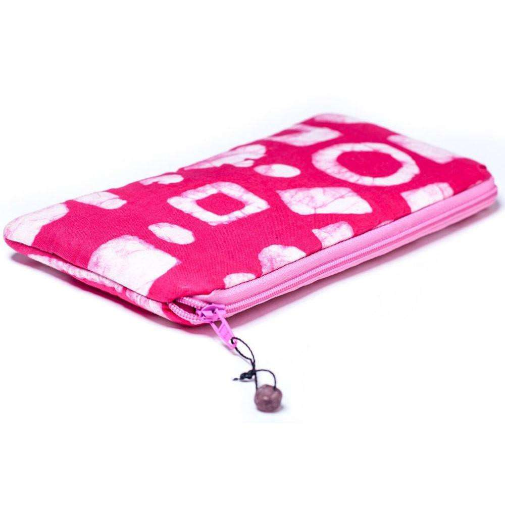 Batiked Clutch Purse - Pink - World Peaces (P) CoolHatcher at TheArtOfLiving.Earth