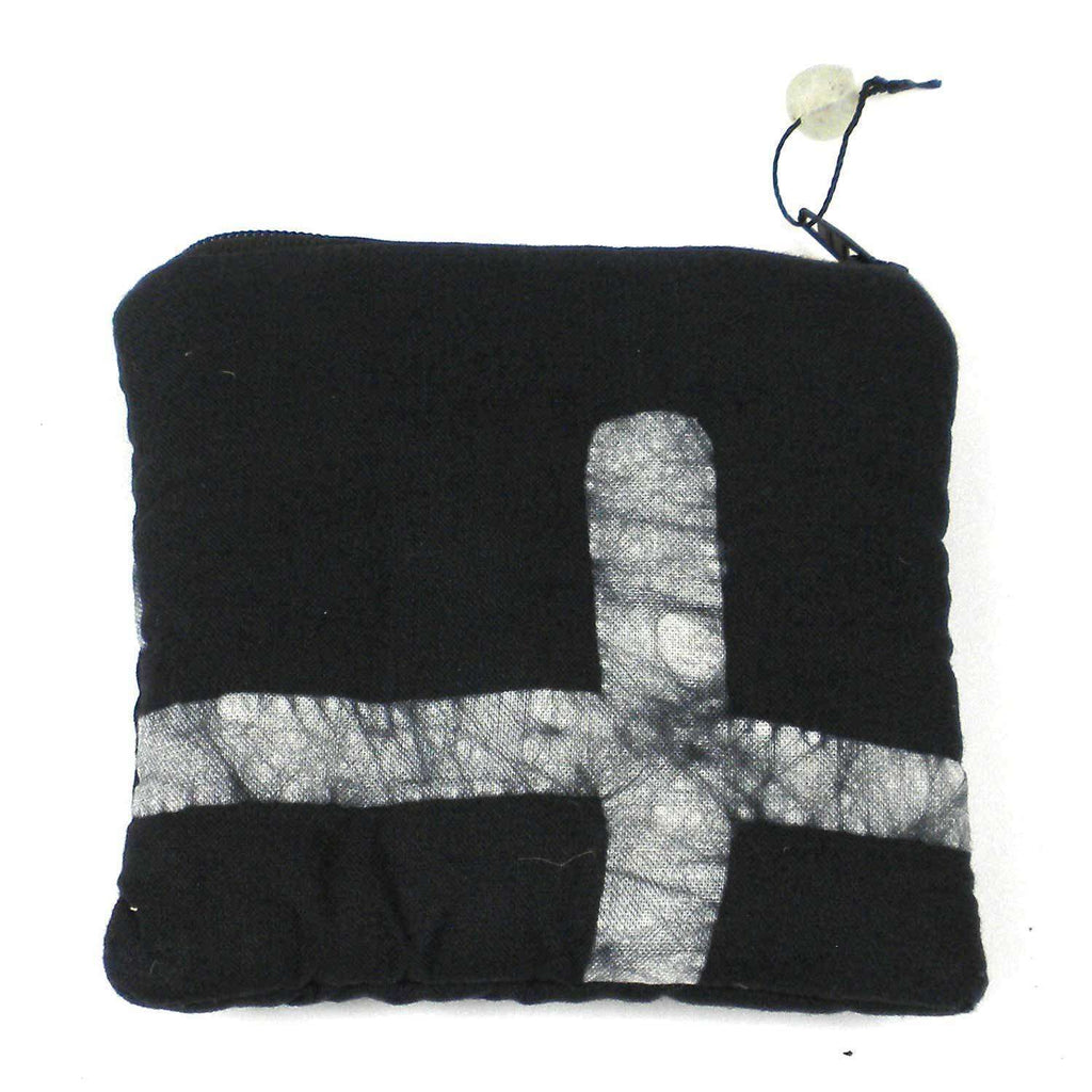Batiked Coin Purse - Black - World Peaces (P) CoolHatcher at TheArtOfLiving.Earth