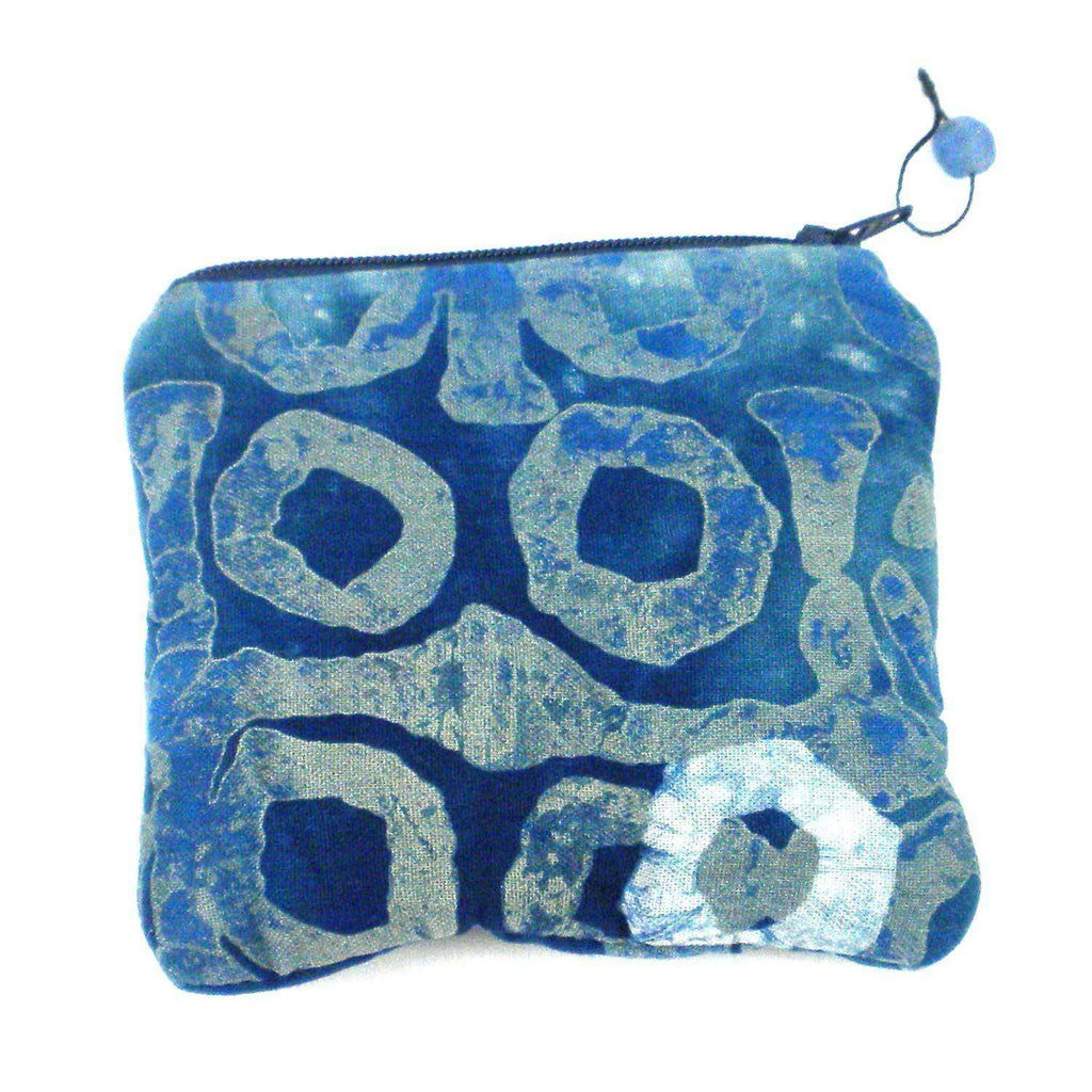 Batiked Coin Purse - Blue - World Peaces (P) CoolHatcher at TheArtOfLiving.Earth