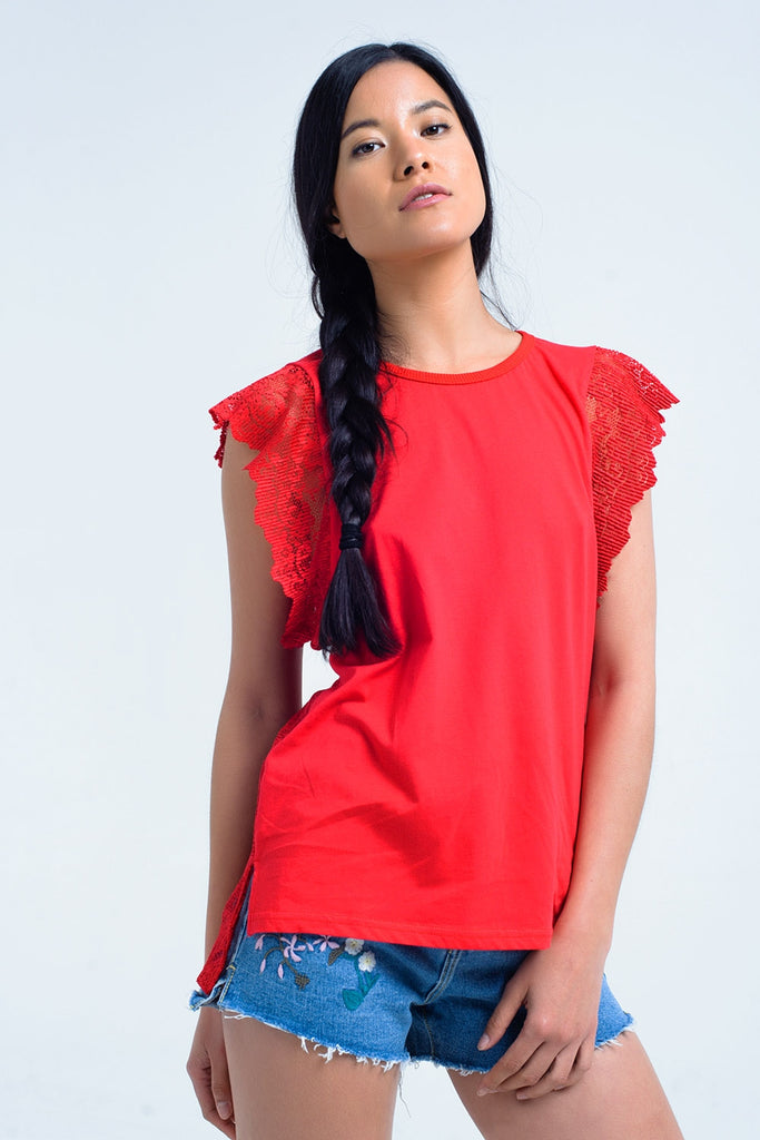 Red top with lace back and ruffles CoolHatcher at TheArtOfLiving.Earth