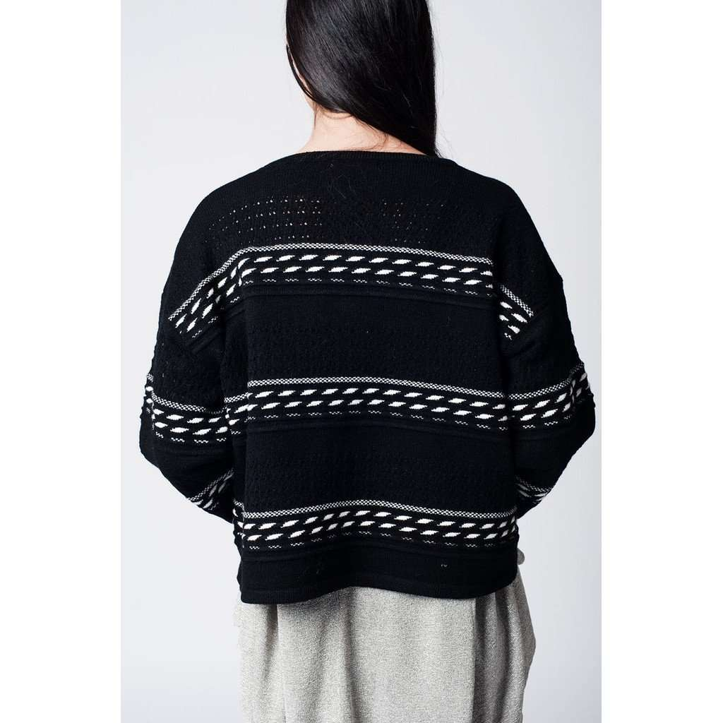 Black crop cardigan with stripes CoolHatcher at TheArtOfLiving.Earth