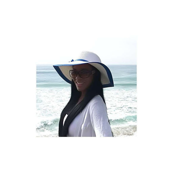 Beach Glam Large White Hat with Blue Rim CoolHatcher at TheArtOfLiving.Earth