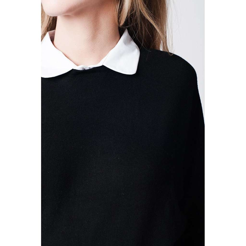 Black soft knit jersey with contrast collar and bet sleeves CoolHatcher at TheArtOfLiving.Earth
