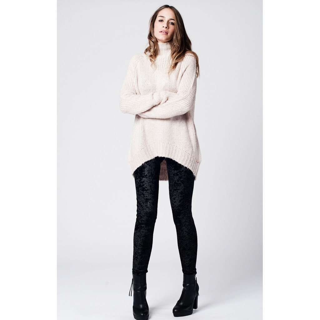 Beige asymmetric wool knit sweater with ribbed turtle neck CoolHatcher at TheArtOfLiving.Earth