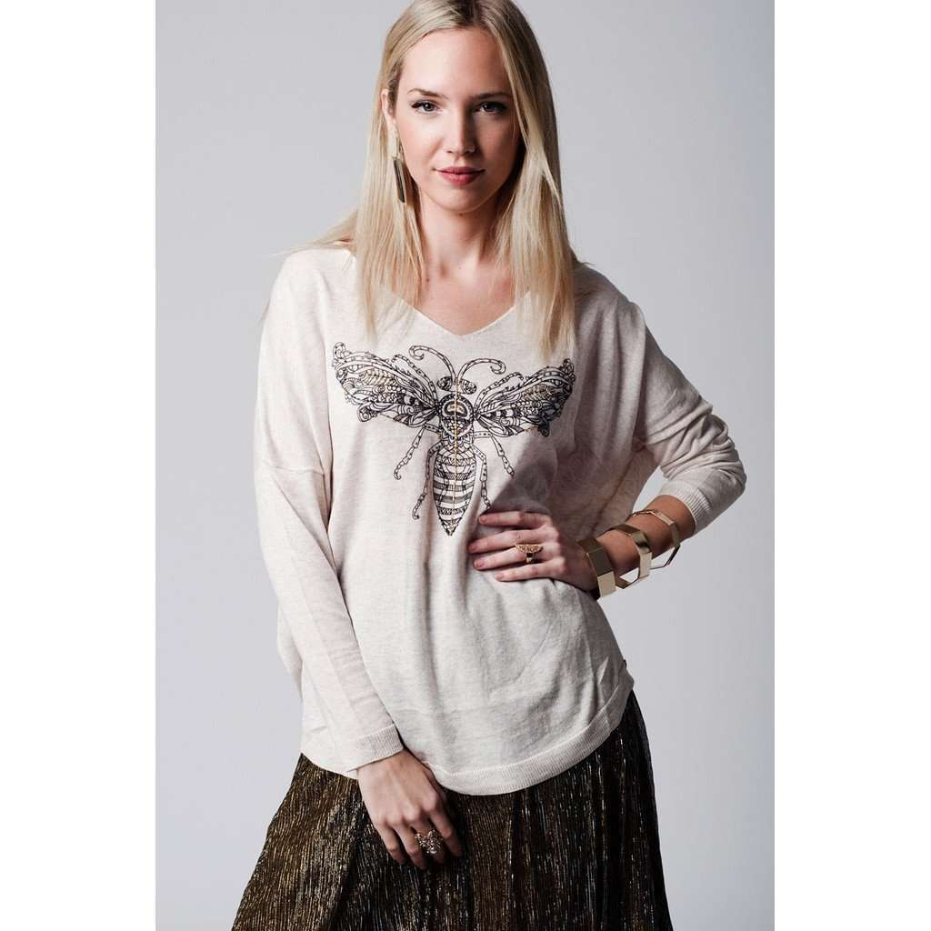 Beige dragonfly embellished lightweight knit CoolHatcher at TheArtOfLiving.Earth
