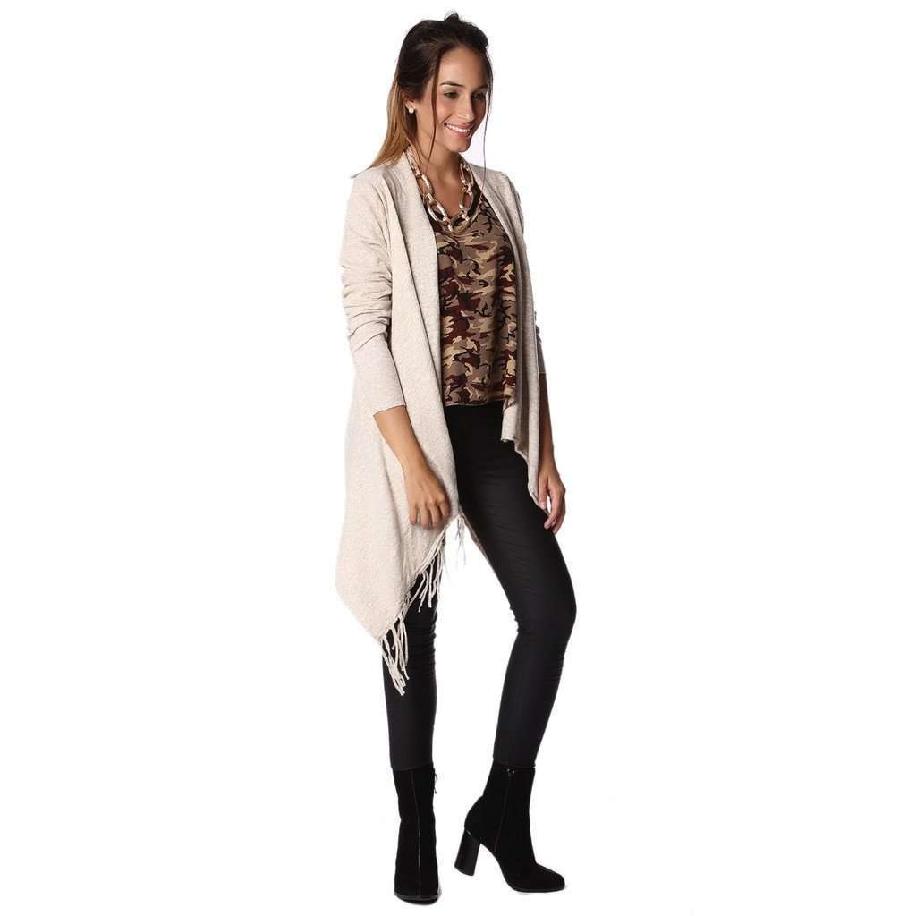 Beige knitted jacket with tassel detail CoolHatcher at TheArtOfLiving.Earth